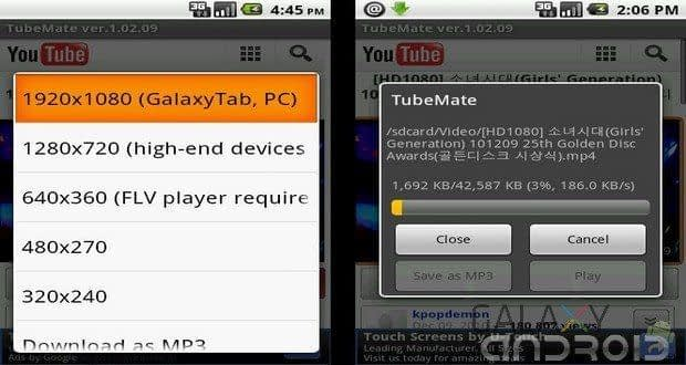 Interfaz de Tubemate para android