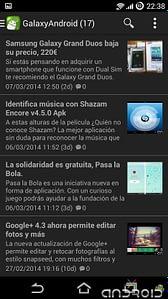 Pantalla principal de la app de GalaxyAndroid