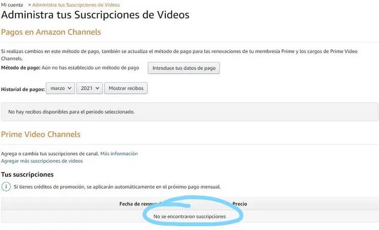 Prime Video channels desde amazon.com no muestra suscripción a StarZ