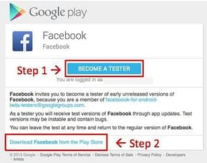 Facebook beta tester Play store