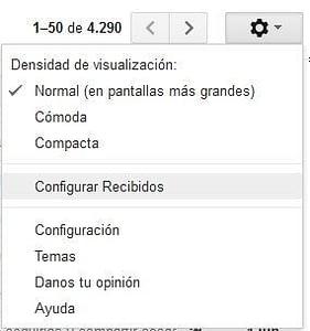 Configurar Recibidos Gmail