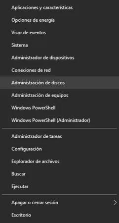 Administrador de discos Captura de pantalla