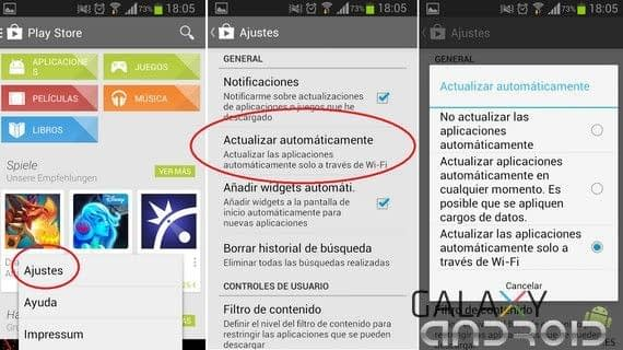 actualizar apps por wifi desde Google Play