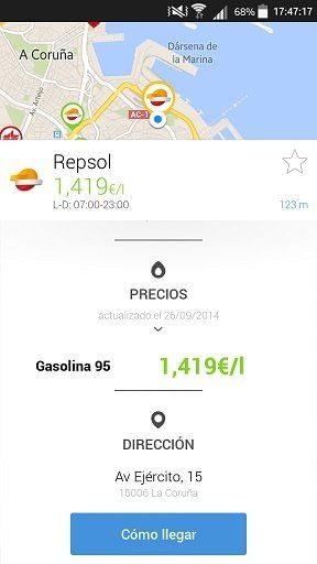 Precio gasolina repsol en coruña con GasAll