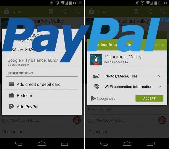 Opción de pago con Paypal en Play Store