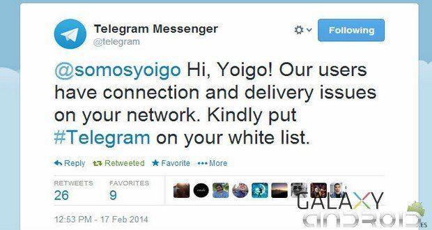 Telegram pide a Yoigo que la pongan en su Whitelist