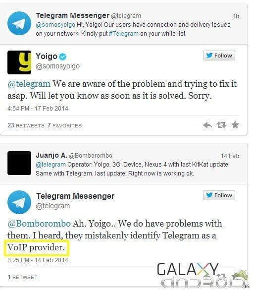 Yoigo y Telegram twitter