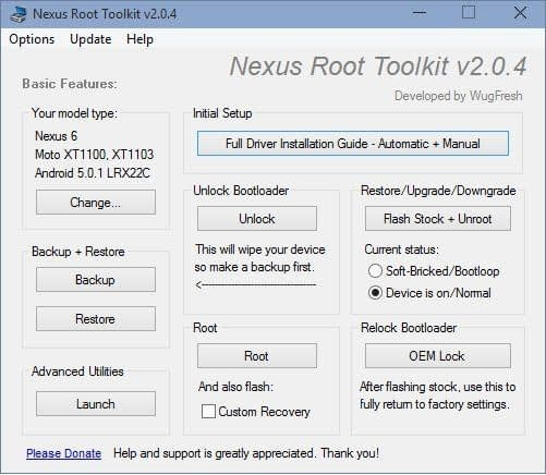 Nexus root toolkit main screen