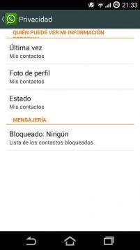 ocultar conexión en whatsapp