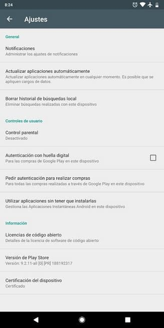 Dispositivo que pasa las directrices de google