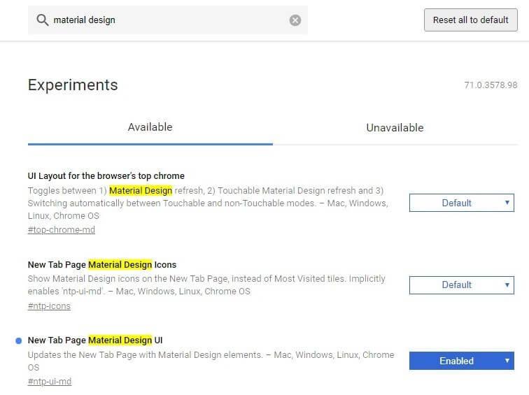 Material design UI para Chrome