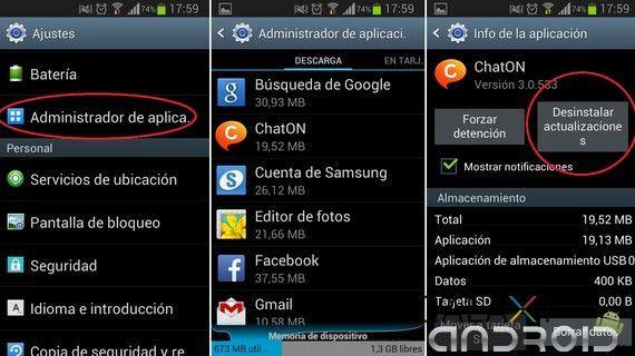 actualización de apps en ajustes